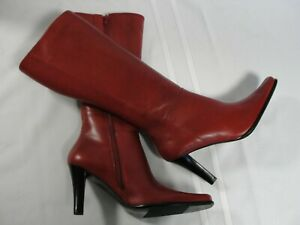 RSVP Sleek Classy Red Leather Boots, New, Size 8M