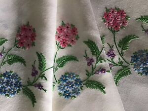BEAUTIFUL LARGE VINTAGE HAND EMBROIDERED TABLECLOTH~ LOVELY FLORALS