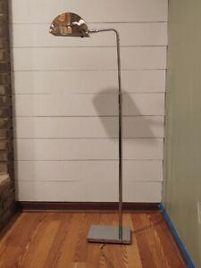 Koch Lowy Vtg Mid Century Modern Chrome Signed Floor Lamp Light Built in Dimmer