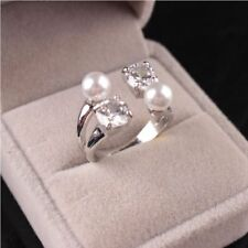 Gifts  Jewelry Adjustable Pearl Open Crystal Ring Pearl Ring Zircon