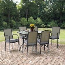 Large 7 Pieces Outdoor Patio Furniture Dining Set 1 Table and 6 Cushioned Chairs