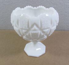 Large Vtg Carved Heavy White Milk Glass Footed Pedestal Candy Holder Bowl Dish