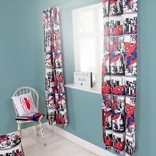 "MARVEL SPIDERMAN METROPOLIS CURTAINS READYMADE CHILDRENS 66"" x 54"""