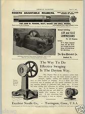 1902 PAPER AD Gray Blaisdell Air Gas Compressor John Rogers Reamer Gauge
