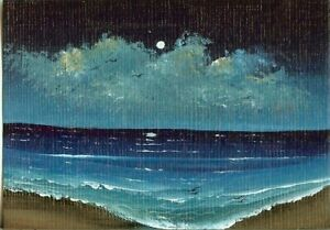 ACEO Original Sand Beach Seascape Ocean Miniature Painting Moon Birds Art HYMES