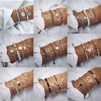 Women Tassels Rhinestone Beaded Gold Silver Bracelets Bangle Chain Cuff Jewelry