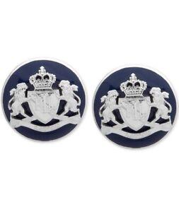 $28 Lauren Ralph Lauren Crest Stud Logo Earrings Blue Silver  Clip On A101
