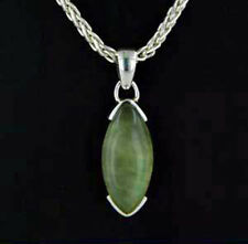 Dainty Prehenite Marquise Pendant in Sterling Silver