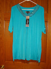 Slinky Brand Sz XL Tunic Peek A Boo Shoulder and V Neck /Sequins Turquoise NWT!!