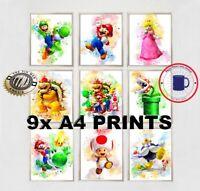 SONIC SEGA FAMILY  /& Sonic 2 prints  Watercolour A4 Wall NURSERY,OFFICE,HOME