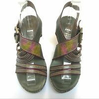 Spring Step Womens Wedge Sandals Green Leather Slingback Floral 39