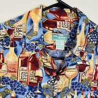 VTG Reyn Spooner Hawaiian Aloha Men's Wine Grapes Rayon Shirt Sz LARGE Napa Vino