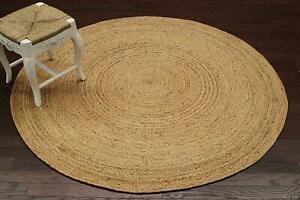 Handmade Indian Jut Rug Round 5 ft Door mat Jute and Cotton Floor Area Carpet