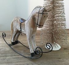 WOODEN ROCKING HORSE ORNAMENTO DI NATALE GIOCATTOLO Decorazione Vintage Chic PONY