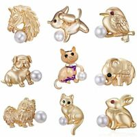 Lovely Gold Pearl Bird Cat Dog Animal Brooch Pin Corsage Women Children Jewelry