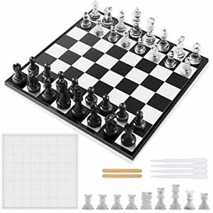 WEVOVE Chess Board Mold for Resin, Silicone Mold Chess Set, with 9 Pieces 3D Res