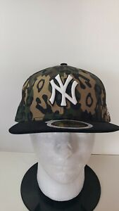 🔥🔥 OFFICIAL NEW YORK YANKEES MLB NEW ERA CHEETAH CAMO FITTED 7 1/2 HAT⚾️⚾️
