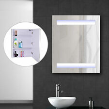 LED Wall Cabinet Mirror Wall Mounted Bathroom Medicine Cabinet W/ 3  Compartments