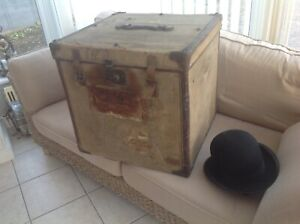 Large Antique French Steamer Trunk Luggage E M Chenevix-Trench