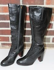 Vintage Giusti Knee High Black Leather Boots Women's Sz 7.5 Made in Italy