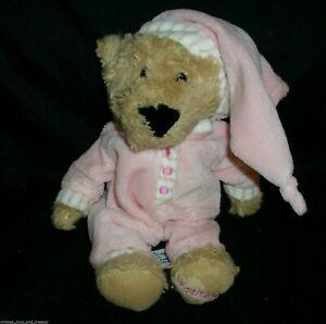 """8"""" FAO SCHWARZ TEDDY BEAR IN PINK PAJAMAS WEDNESDAY TOY STUFFED ANIMAL PLUSH"""