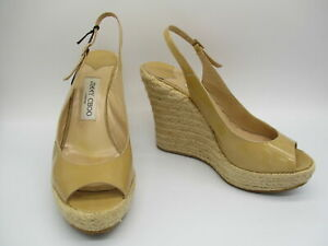 JIMMY CHOO tan patent leather slingback peep toe wedge platform espadrille sz 39