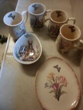 Set of 4 Rabbit  flower Design Cups Mugs w Feet + plate,bowl.Butterfly inside