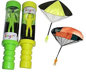 Toy Skydiver Parachute Men 2 Piece Set- Tangle Free With Launcher Containers!