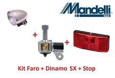Kit Faro Cromato + Dinamo SX in Alluminio + Stop p per bici 20-24-26-28 Trekking