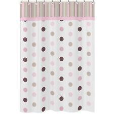 Jojo Designs Pink Modern Dots Stripes Kids Bathroom Fabric Bath Shower Curtain