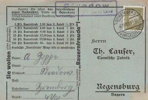 Deutsches Reich Karte Landpoststempel Stradow Spremberg Niederlausitz Land 1932