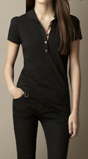 Burberry Brit Women Check Placket Black Polo Shirt Size SP NWOT