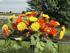 "24"" Window Box Fall Colors Orange Yellow Mums Thanksgiving Cottage Shabby Chic"
