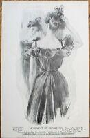 Howard Chandler Christy/Artist-Signed 1905 Postcard: A Moment of Reflection