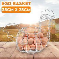 Egg Storage Basket Chrome Plated Chicken Hen Shaped Wire Display  Holder Rack