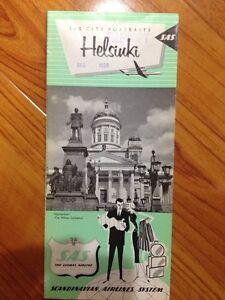 Rare Vtg 1959 SAS Portraits Helsiuki Map Finland Scandinavian Airline Pamphlet