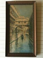 "A. Presti (Italian) Original Watercolor Painting Venice Scene, 6"" x 12"" (Image)"