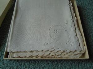Old Madeira Hand Embroidered Napkins 12 count - Original Box - Unused