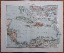 West Indien - alte Landkarte aus 1906 Stielers Handatlas antique map