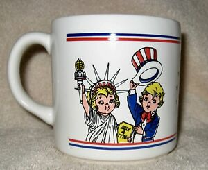 Campbells Soup Salute America Mug ~ Red White & Blue Statue of Liberty Uncle Sam