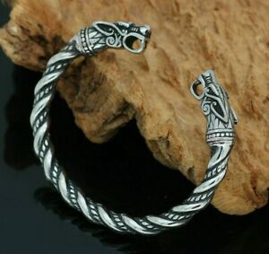 Viking Wolf Bracelet Stainless Steel Arm Ring Jewellery Bangle Cuff Norse