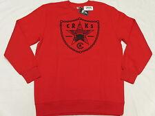 $65 NWT Mens Crooks & Castles CRKS Riders Sweatshirt Red Urban Print Size M L455