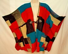 Democracy Sweater Poncho Wrap L /XL Multi Color Pockets Toggle $78.00
