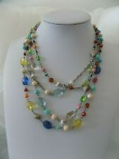 """COOKIE LEE Multi Strand Multi Color Acrylic Glass Bead 18 or 36"""" Necklace #9557"""
