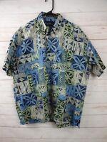 Falcon Bay Gold Label Mens Hawaiian Size L 16-16 1/2 Blue, Green & Beige Shirt