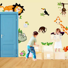"""Buy 1 Get Free"" Jungle Wild Animal Zoo DIY Wall Sticker Decal For Kids Nursery"
