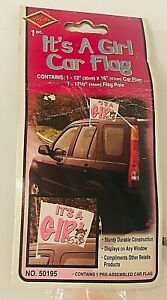 It's A Girl 2 Sided Car Vehicle Flag Mount Window Clip Gender Party Baby Shower