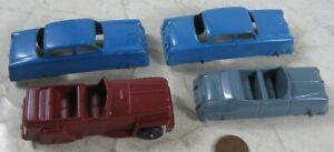 """4 Vintage 1940's Die Cast 3 1/2"""" Tootsie Toy Cars"""