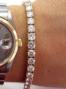 Peregrina Rund Diamant Tennis Armband Massiv Gelbgold 18KT 33-Stones 15.00Ct