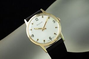 Bulova Gold-Plated Hand-Winding Men's Watch w/ Black Leather Band